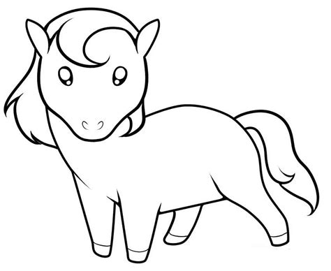 easy pony coloring pages horse cartoon pictures cliparts co