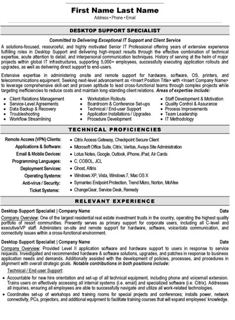 desktop support resume exles desktop support specialist resume sle template