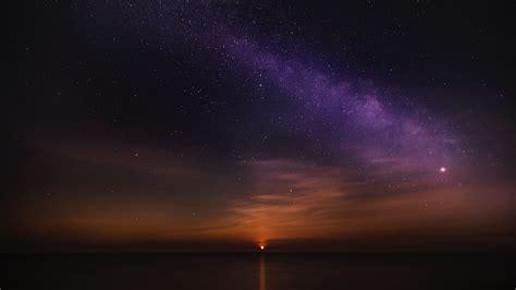 wallpaper sunrise starry sky horizon hd picture image