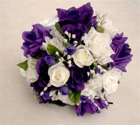 bridal bokay purple wedding bouquet silk bouquet white roses