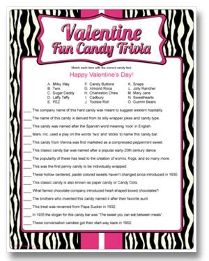 printable valentine games for church candy trivia valentine s day couples game match the
