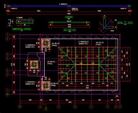 Konstruksi Ruang Baja gambar kerja desain rencana atap kuda kuda baja