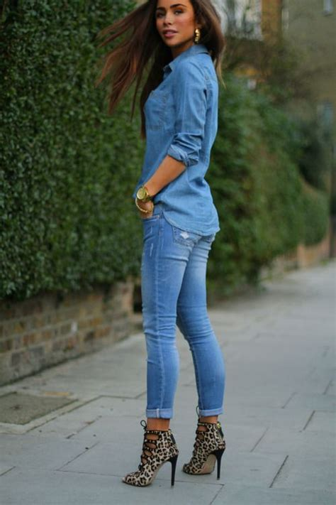 jean outfits on pinterest fabulously feminine outfit all denim with leopard