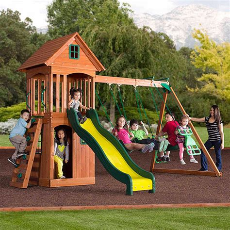 walmart outdoor swing sets backyard discovery springwood wooden swing set outdoor