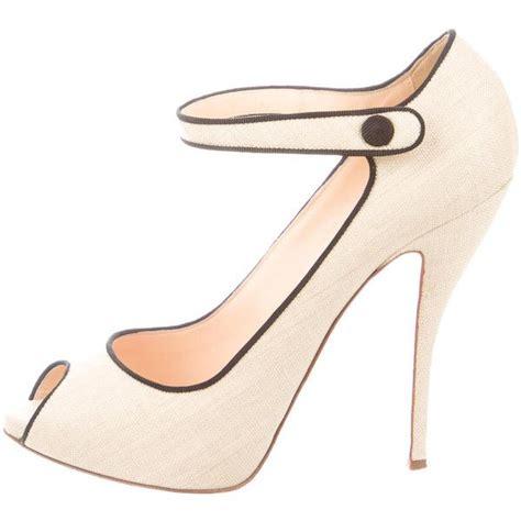 Found Amazingly Stylish Peep Toe Janes by Pre Owned Christian Louboutin Raffia Peep Toe