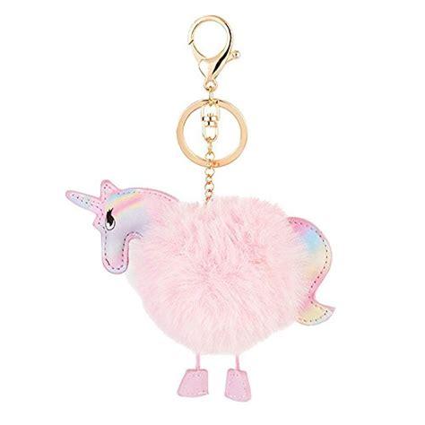 Unicorn Fur Pompom Fuzzy Simple Key Chain Pfa8e7 kissweet fluffy rainbow unicorn keychain pom pom plush keyring for car bag pendant charms