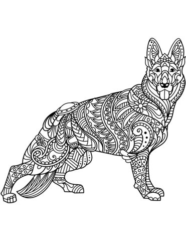 german shepherd zentangle coloring page free printable