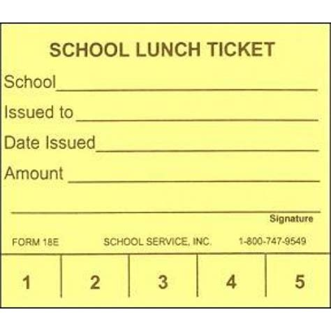 Lunch Punch Card Template by 18e 5 Punch School Lunch Ticket Punch Tickets