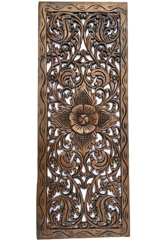 floral wood carved wall panel decorative thai wall relief panel sculp asiana home decor