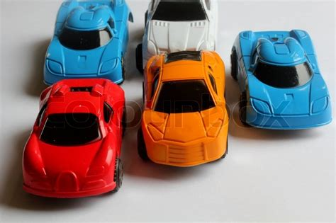 colorful cars miniature colorful cars standing in line showroom sale