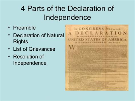 sections of the declaration of independence xtra declar 4 parts rude 7th grade