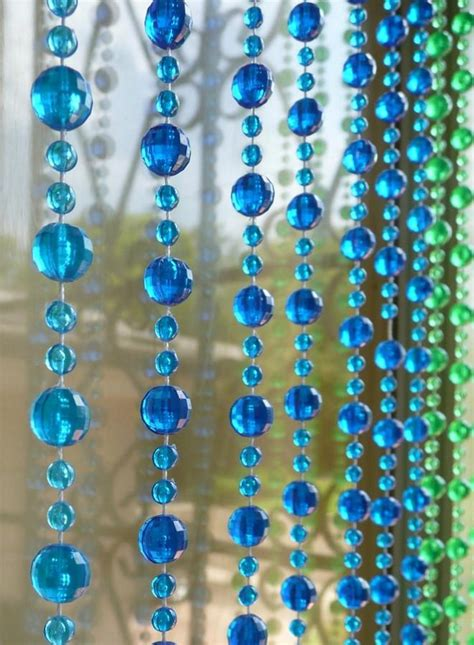 curtain of beads 6 blue green gemstone shape beaded curtain that