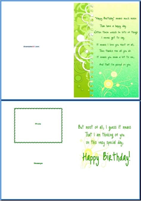 Microsoft Word 2013 Birthday Card Template by Birthday Card Template Word Visual Schedule Template