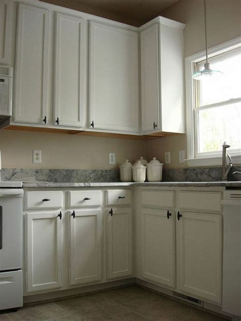 Old Oak Cabinets Painted White and Distressed   Oak