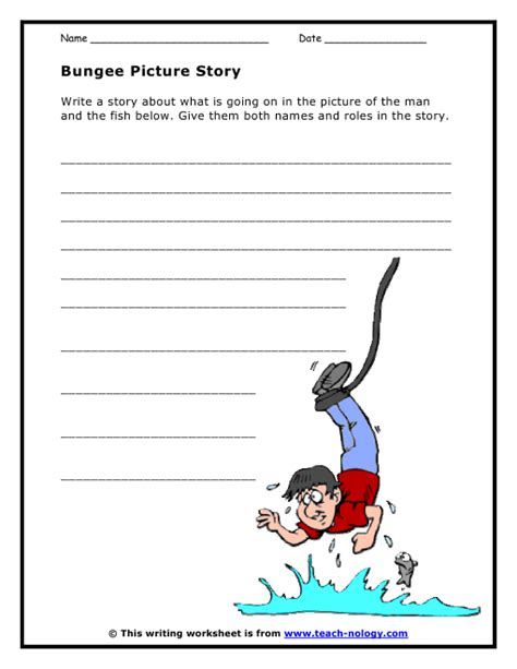 language arts worksheets bungee jumping picture story