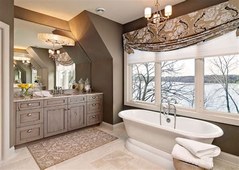 master bathroom   beautiful gray stained knotty alder vanity  vaulted ceiling