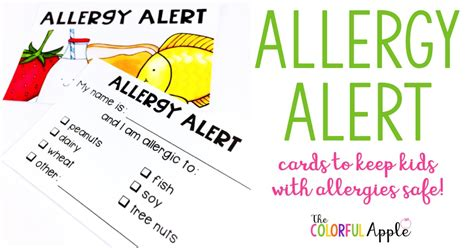 food allergy card template for children the colorful apple