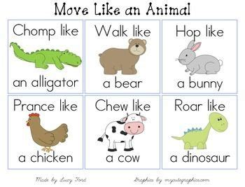 printable animal walk cards move like an animal cards diy projects brain breaks and