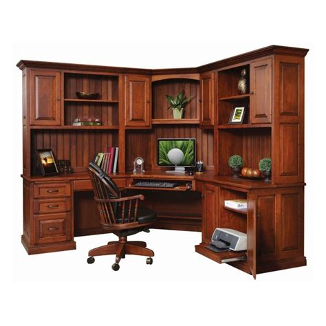 Amish Furniture Nj Penn Ave Corner Desk With Hutch Amish Handcrafted