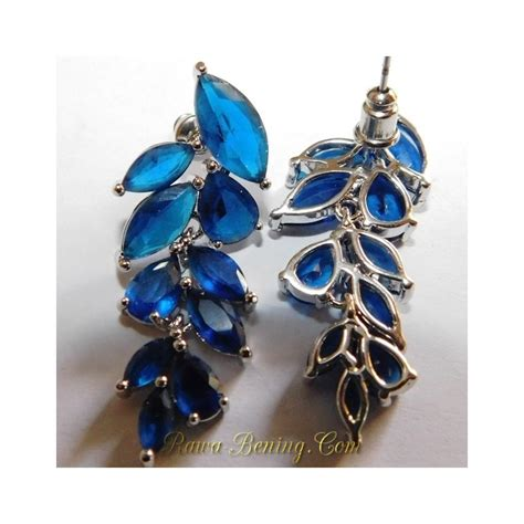 Anting Wanita Cherry Biru Muda Anting Fashion Wanita Bahan Gold Filled 19k Daun Biru
