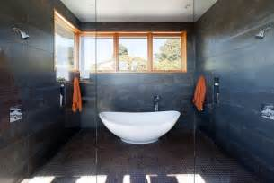 freestanding bathtub in shower room wet room