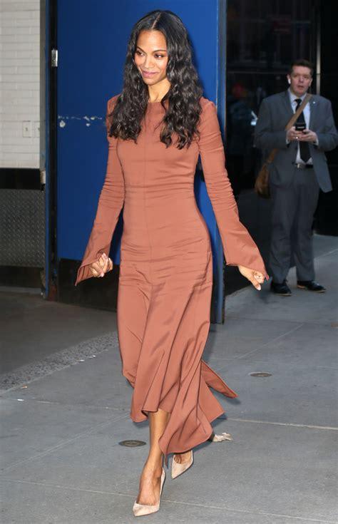 Can Zoe Dress A Real by Get Zoe Saldana S Gorgeous Brown Midi Dress Fashion