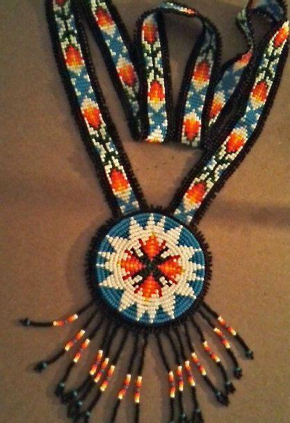 beadwork necklace beaded rosette necklace beaded pendant