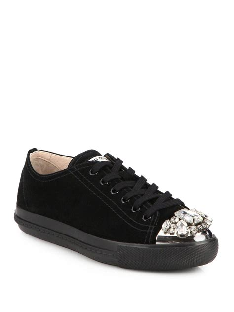 Miu Sneker Swaroksy miu miu suede swarovski lowtop sneakers in silver nero black lyst