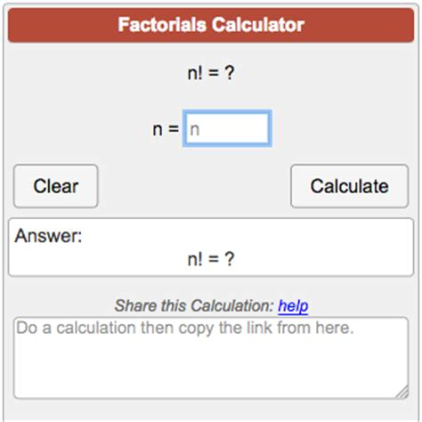 calculator factorial factorial calculator n