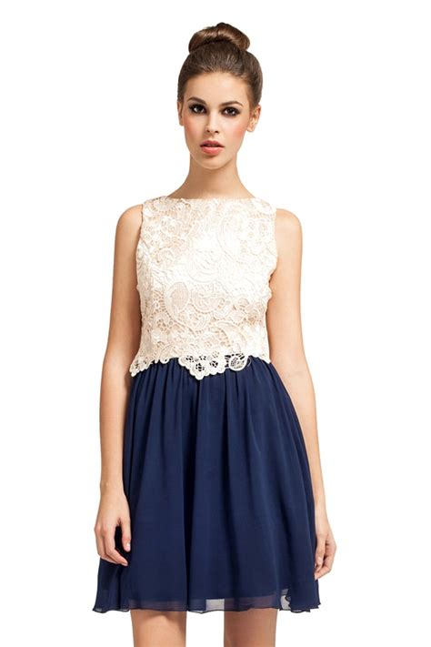 Dress Navy and navy lace overlay detail 2 in 1 dress