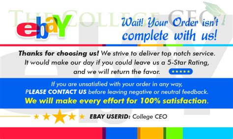How To Get Free Ebay Gift Card - ebay seller thank you feedback cards template free download the college ceo