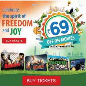 bookmyshow offer bookmyshow movie tickets rs 69 off on rs 150 15 off