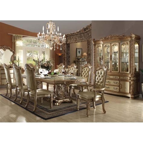 gold dining set vendome gold 7pc formal dining set