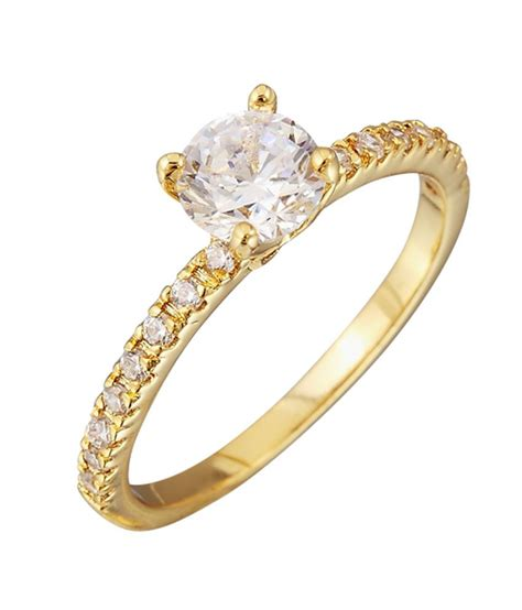 auragram beautiful gold plated ring studded with cubic