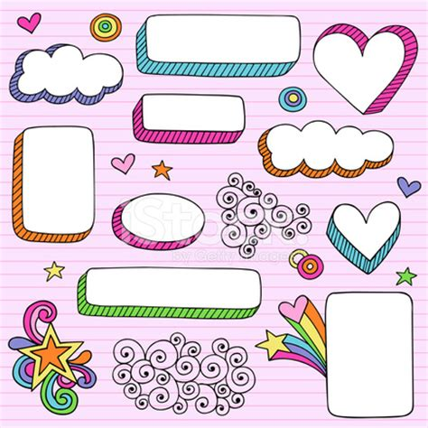 groovy psychedelic notebook doodle frame shapes stock