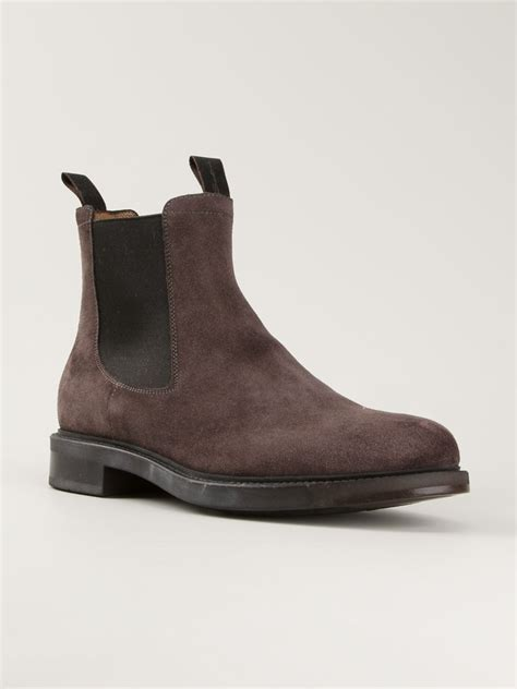 santoni suede chelsea boots in brown for lyst