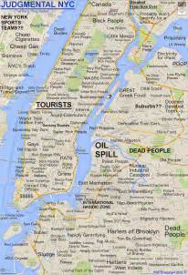New York Neighborhood Map by Roosevelt Islander Judgmental Map Of New York City