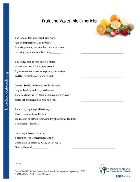 printable vitamin quiz vegetable worksheets for high school fruits and