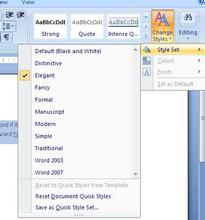 Reset The Document Back To Document Quick Styles From A Template Style Apply 171 Style Microsoft Word Style Templates