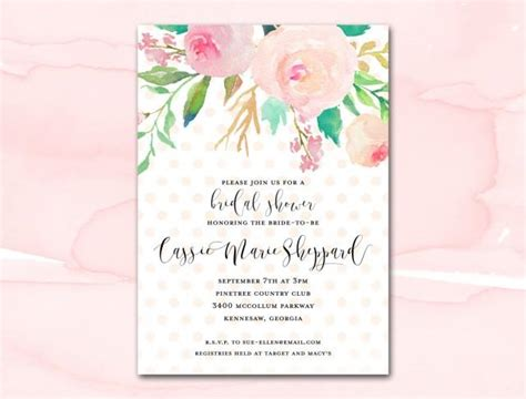 free sles of bridal shower invitations bridal shower invitation printable blush watercolor