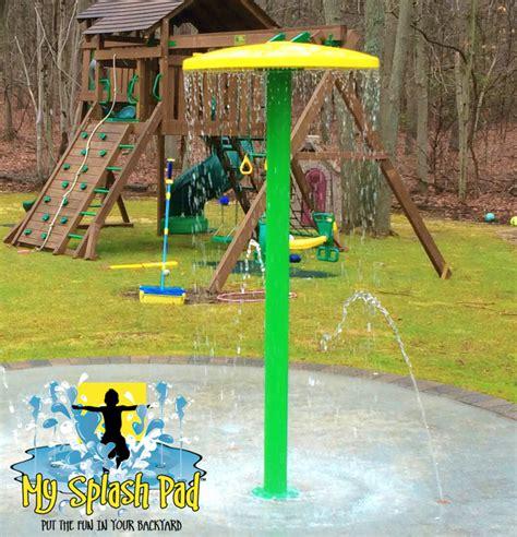 backyard water park backyard aquatic park installed by my splash pad in east setauket new york