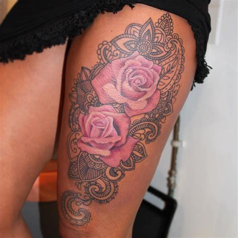 thigh tattoo roses rosetattoo on instagram