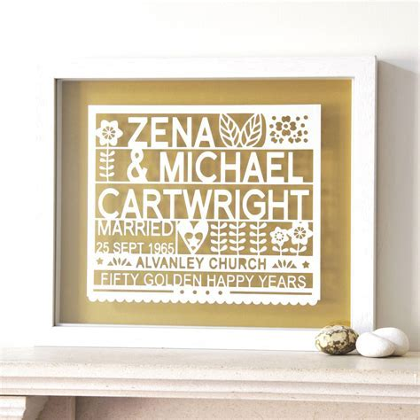 personalised 50th golden wedding anniversary gift by ant