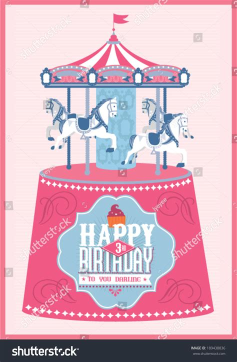 merry card template carouselmerry go birthday card template stock vector