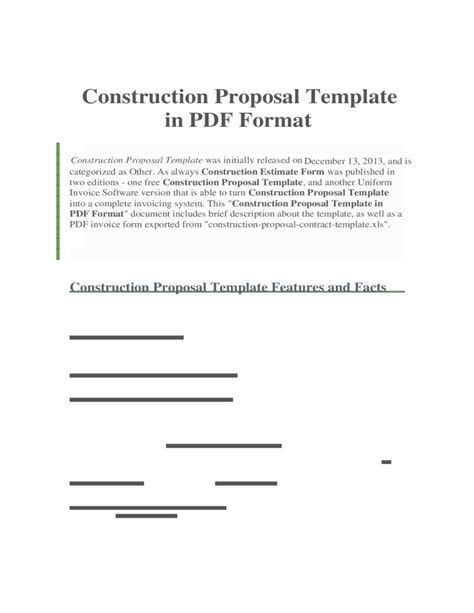 Construction Proposal Template In Pdf Format Free Download Free Construction Template Pdf