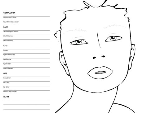 Printable Witch Face Stencil Printable Makeup Chart Template