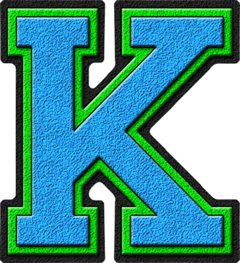 Letter Kc Presentation Alphabets Light Blue Green Varsity Letter K