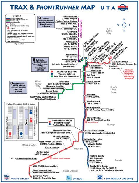 uta cus map salt lake city uta light rail system