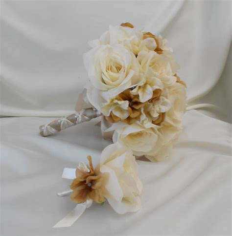 wedding silk flower bridal bouquet your colors 2 pieces ivory