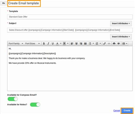 how do i create email template in caigns app apptivo faq